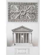 ROME Temple of Jupiter Stator Facade Plan Ceiling - SUPERB 1905 Espouy P... - $20.16