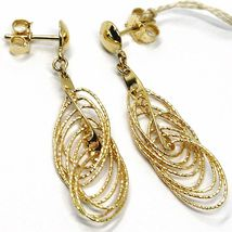 18K YELLOW GOLD PENDANT EARRINGS, MULTIPLE WORKED OVALS, SPIRAL 4cm, 1,6 INCHES  image 5