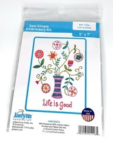 "Janlynn Sew Simple Janlynn Embroidery Kit 5: x 7"" Pattern: Life is Good ... - $8.90"