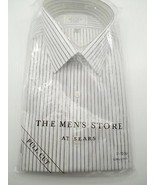 Sears The Men's Store Dress Shirt Full Cut Blue Stripes Long Sleeve 17 3... - $14.99