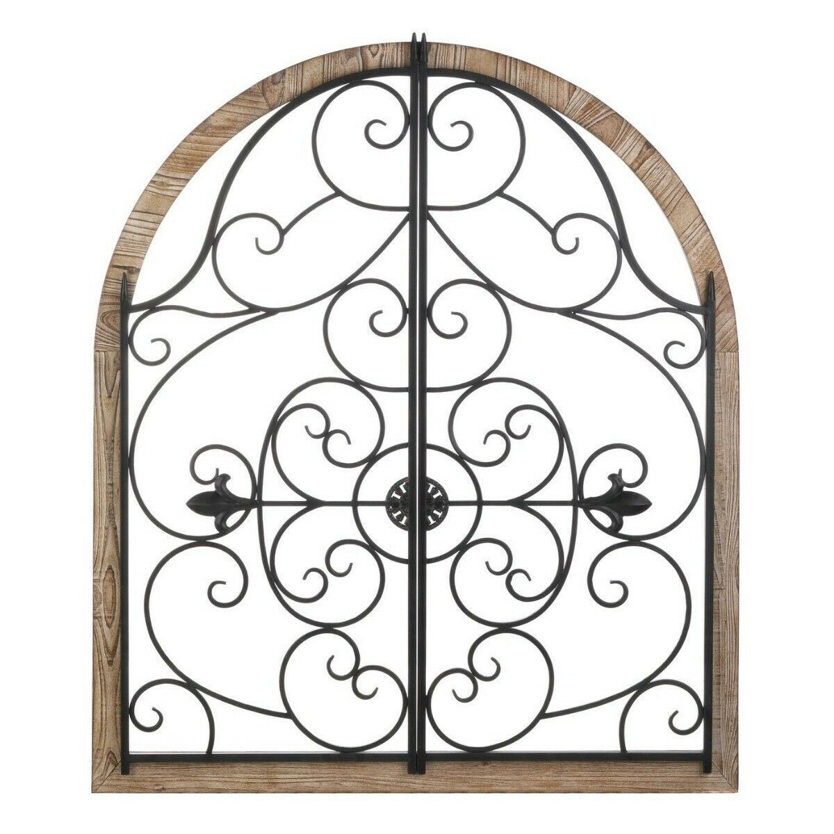 """Arched Wood & Wrought Iron Wall Plaque Gate Design 35"""" High Indoors/Outdoors - $94.95"""