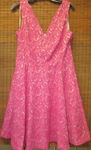 New Anthropologie Maeve  Swing Jacquard Pink Floral V-Neck Dress Size  6 - $26.00