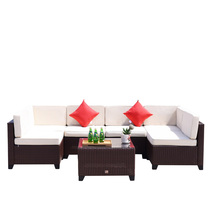 7 PC Patio PE Wicker Furniture Outdoor Garden Sofa Sectional Set Cocoa B... - $559.99