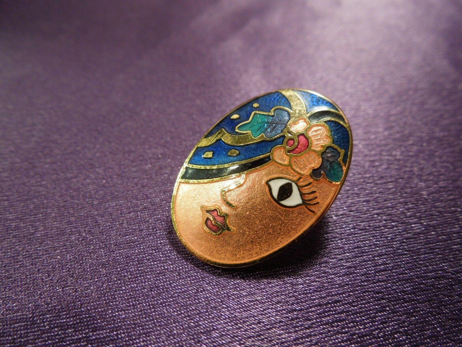 Vintage Enamel Gypsy Fortune Teller Face W/ Scarf Over Eye Oval Stud Earrings image 6