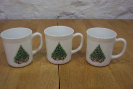 VINTAGE Salem Noel Porcelle CHRISTMAS TREE / WREATH DRINKING MUG CUPS LO... - $19.80