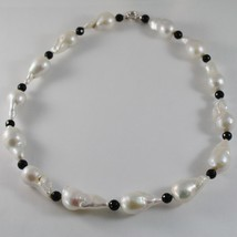 18K WHITE GOLD NECKLACE BIG DROP BAROQUE PEARL PEARLS 25 MM & ONYX MADE IN ITALY image 2