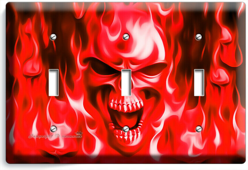 RED FLAMES BURNING SKULL 3 GANG LIGHT SWITCH WALL PLATE BIKER MAN CAVE ART DECOR