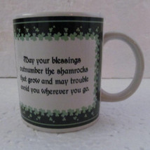 Irish Blessings, Shamrock, Lucky Collectible Porcelain Coffee Mug by GANZ - $9.99