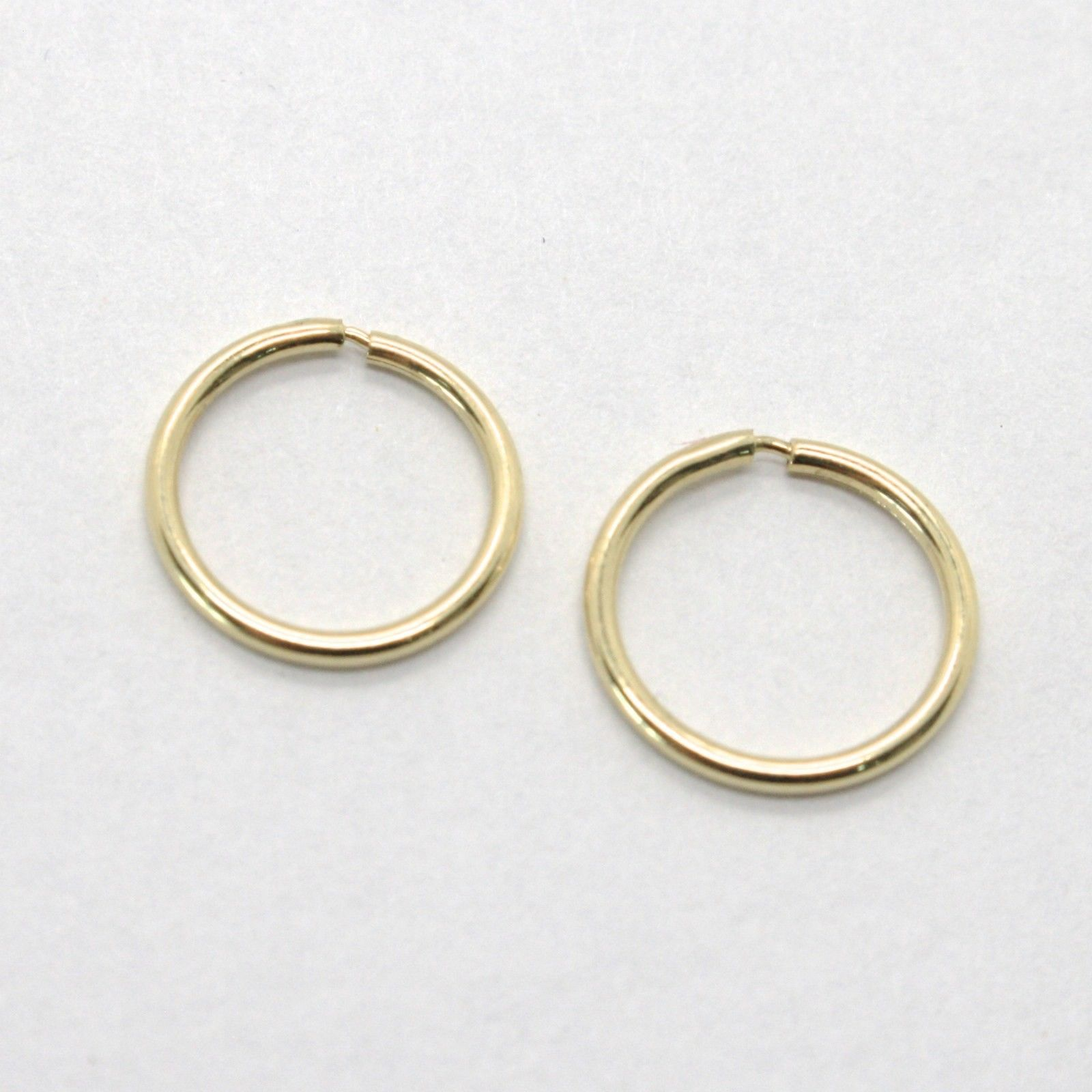18K YELLOW GOLD ROUND CIRCLE HOOP EARRINGS DIAMETER 8 MM x 1 MM, MADE IN ITALY