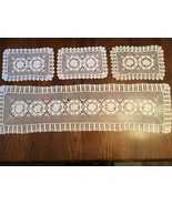 Vintage hand made crocheted table runner w/ doilies  - $35.00
