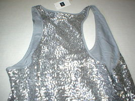 Womens Gap Top S New NWT Silver Sequin Tank Blouse Lined Hi Low Small Pretty image 6