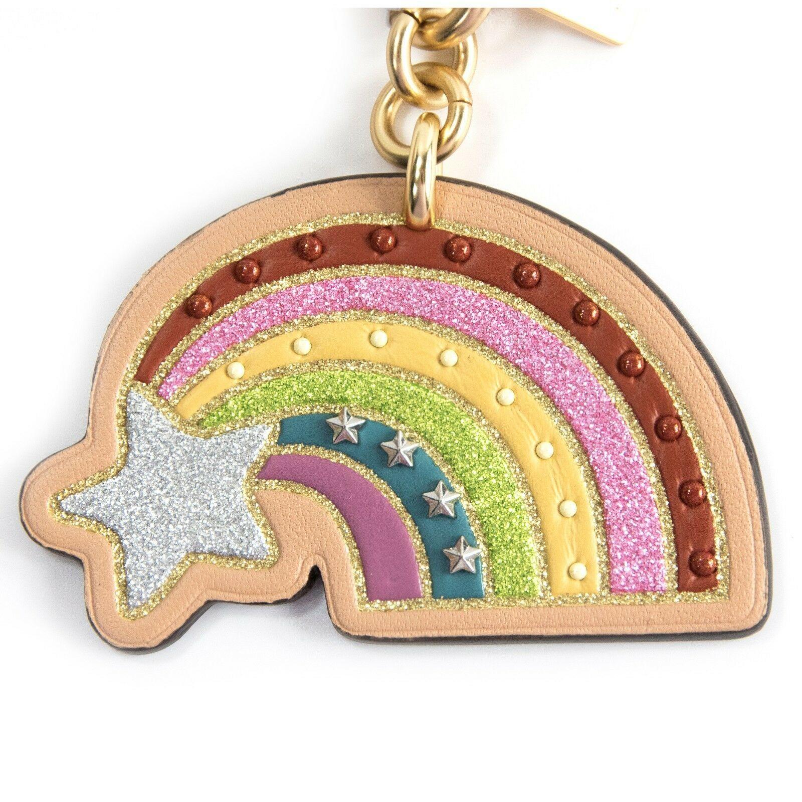 Coach NASA Shooting Star Rainbow Studded Leather Bag Charm Key Chain 27651 NWT image 2