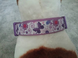 Butterflies and flowers dog collar, dog collar, purple and lavender dog ... - $16.00+