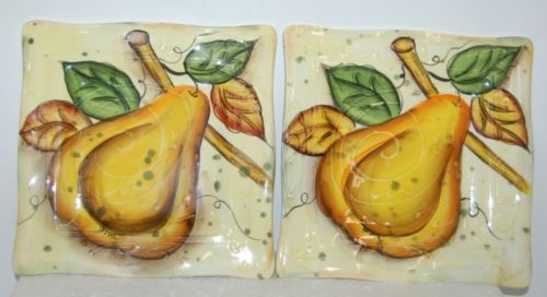 Bella Casa Ganz Farmers 7 Inch Snack Plates Cream Color Pear Design