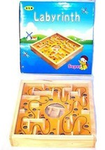 WOOD MAZE GAME W METAL BALL wooden puzzle mind toy board marble SKILL GAMES - $4.47