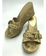 Coach Faye 6.5 Gold Signature Sig Wedge Heels Shoes Buckle Peep Toe - $26.99