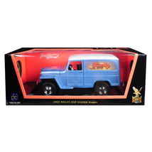 1955 Willys Jeep Station Wagon Silver Blue with White Top Lucky 1/18 Die... - $75.38
