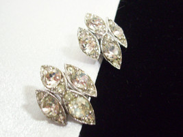 Vintage Bogoff Sparkle Clear Rhinestone Silver Plate Clip Earrings Party... - $18.76
