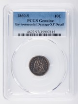 1860-S 10C Dime Graded by PCGS as XF Details - Environmental Damage - $371.24