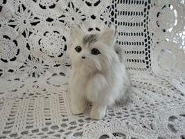Vintage Persian Cat with Rabbit Fur Handmade Ornament SO RARE  - $139.90