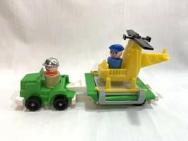 Vtg Fisher Price Little People Copter Rig Trailer Figures Helicopter #34... - $19.79