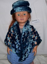 American Girl Multi Blue Shawl and Hat, Handmade Crochet, 18 Inch Doll - $15.00