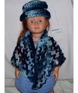 American Girl Multi Blue Shawl and Hat, Handmade Crochet, 18 Inch Doll - $15.00