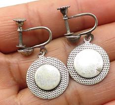 925 Sterling Silver - Vintage Round Non Pierced Screw Back Earrings - E4132 - $23.13