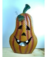 Holiday Halloween Metal Pear Shaped Pumpkin Fall Autumn Tabletop Candle ... - $29.69