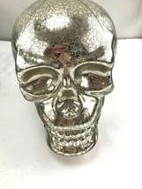 "4"" Mercury glass look Skull head Halloween decor NWT - $29.70"