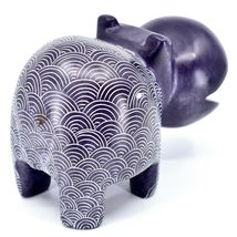 Vaneal Group Hand Carved Soapstone Large Heavy Purple Hippopotamus Hippo Bookend image 4