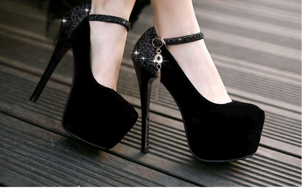Primary image for pp405 cute high-heeled strappy ankle pumps in spell color US Size 2-10, black