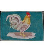 Vintage Rooster Wool Hand Hooked Rug Primitive Country Cottage Folk Art ... - $90.00