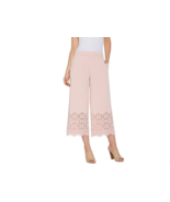 Dennis Basso Luxe Crepe Pull-On Crop Pants w/ Laser Cut Detail,Blush Pin... - $42.55
