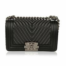 Authentic Chanel Rare 2014 Herringbone Chevron Silver Embroidered Boy Bag - $4,633.20