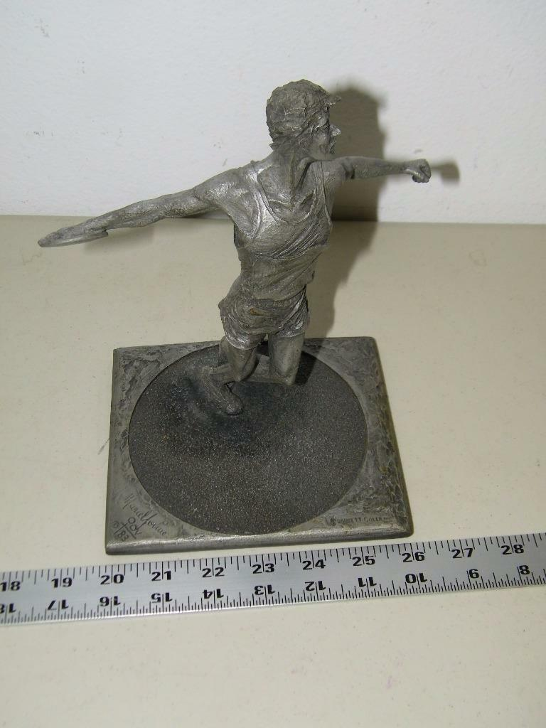 Vintage 1984 Discus Sculpture for Telephone AT & T Pewter Tone 14437 image 4