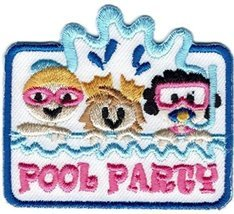 Cub Girl Boy POOL PARTY Embroidered Iron-On Fun Patch Crests Badge Scout... - $4.90