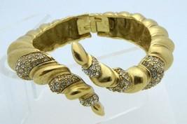 Ellen Kiam Lia Sophia Clear Rhinestone Gold Tone Open Bangle Bracelet Vi... - $29.69