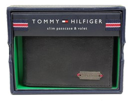 Tommy Hilfiger Men's Black Leather Slim Passcase Credit Card Wallet 4698-1