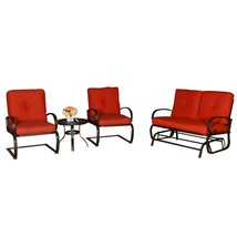 4 PC Outdoor Loveseat Furniture Garden Patio Set Wrought Iron Frame Tabl... - $369.99
