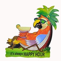 WorldBazzar Hand Carved Wooden Parrot in Chair ITS Always Happy Hour Coc... - $27.66