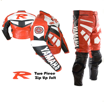 YAMAHA R RED MOTORBIKE MOTORCYCLE BIKERS COWHIDE LEATHER ARMOURED 2 PIEC... - $339.99
