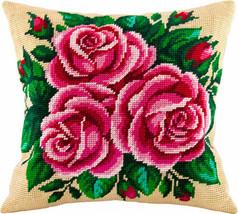 Flowers pillowcase cross stitch DIY embroidery kit, needlepoint, needlework - $38.50