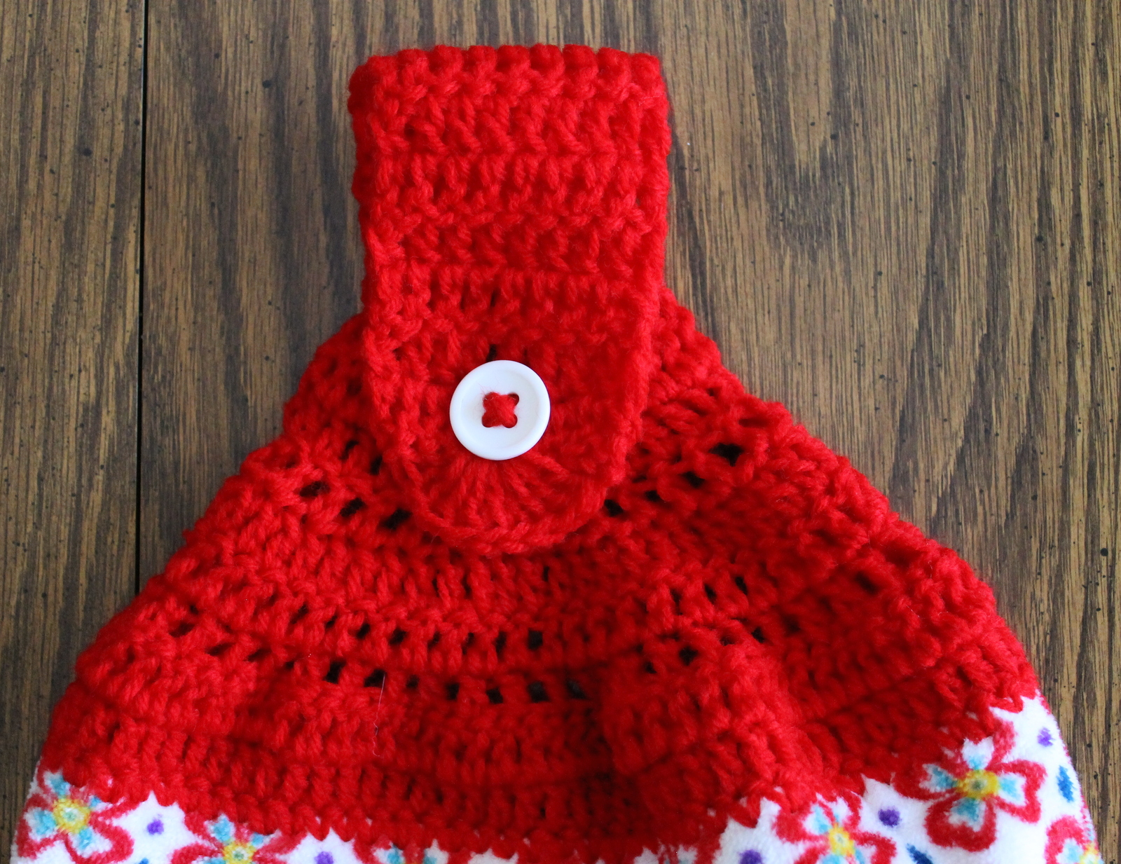Red Floral Hanging Dish Towel with Crocheted and similar items