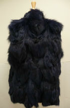 Jocelyn Bicolor Black Navy Roadie Fox Fur Vest New $1.1 image 4