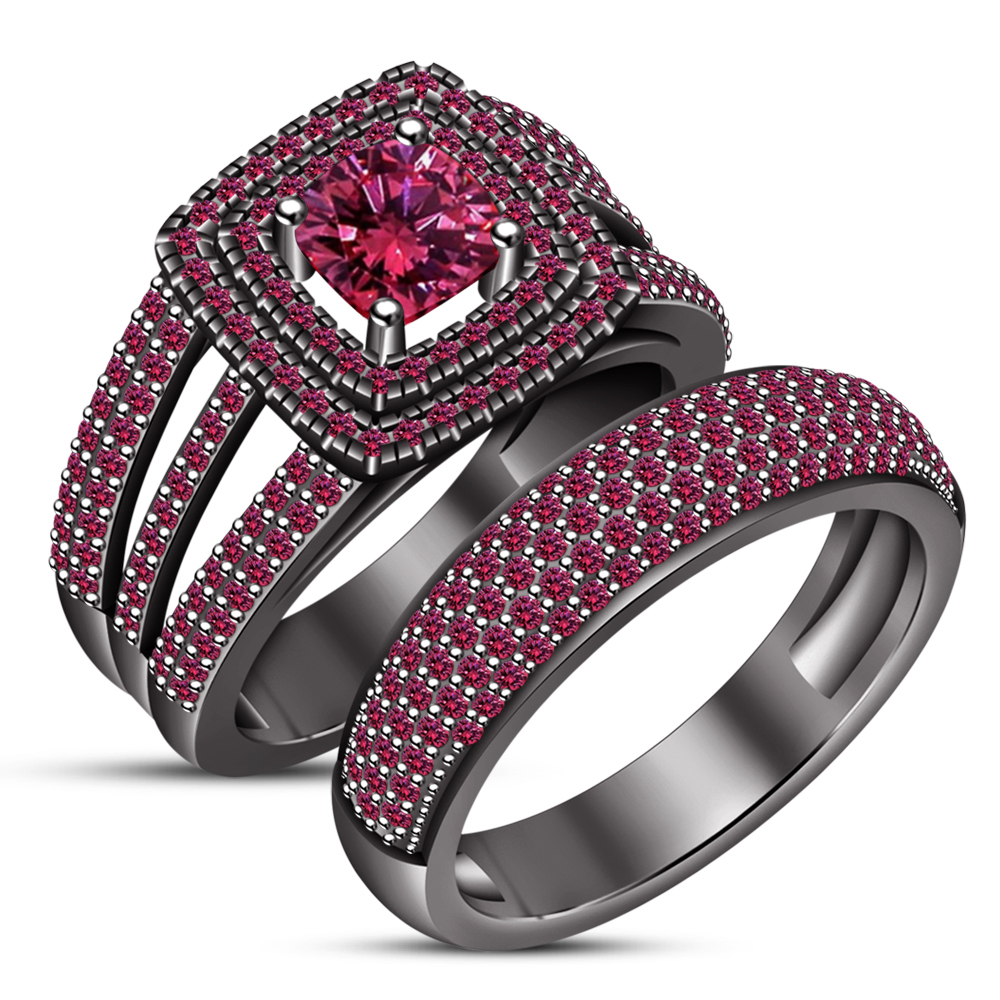 Primary image for Engagement Ring Set Cushion Cut Pink Sapphire 14k Black Gold Plated 925 Silver