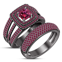 Engagement Ring Set Cushion Cut Pink Sapphire 14k Black Gold Plated 925 ... - $140.99