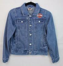 Harley Davidson youth kids motorcycles denim jean jacket buttons size 12/14 - $23.78