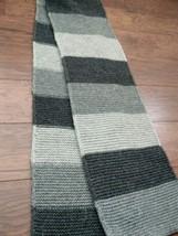 GAP 100% lamb's wool striped scarf muffler gray 8.5IN * 66IN - $11.99