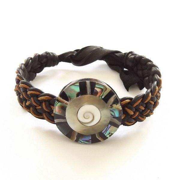 ABALONE SHELL LEATHER WOVEN TIE ON BRACELET ORANGE AND BLACK MOTHER OF PEARL
